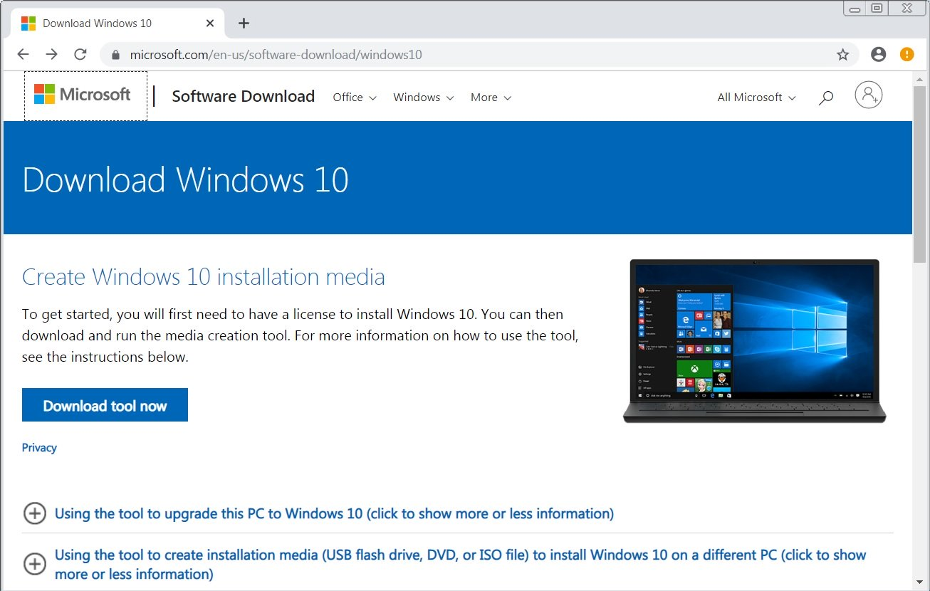 windows 10 upgrade via Media creation tool