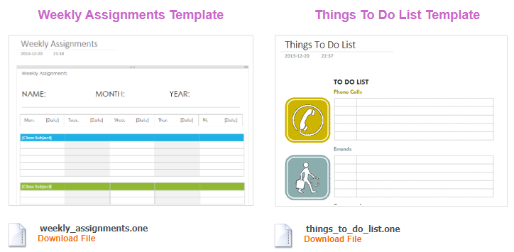note-taking templates onenote