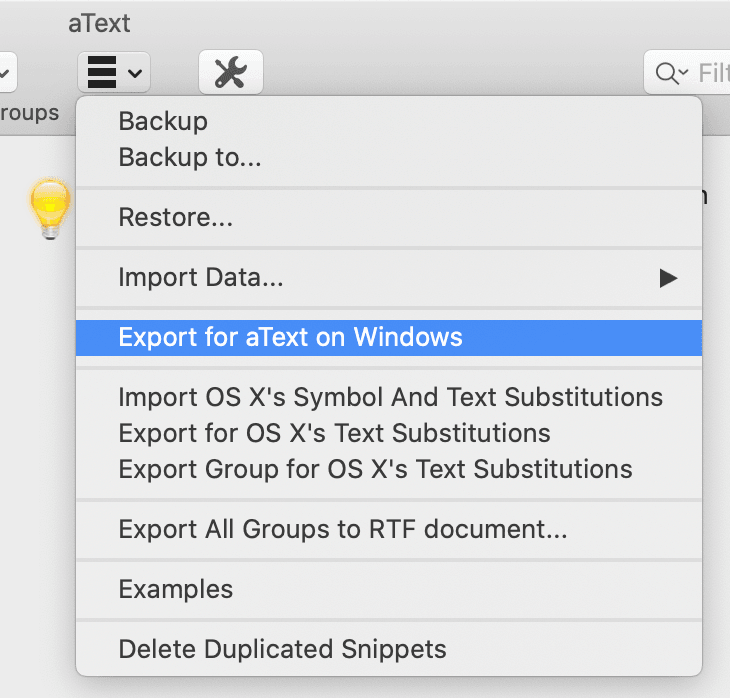 atext share snippets