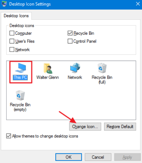 change Windows desktop icons